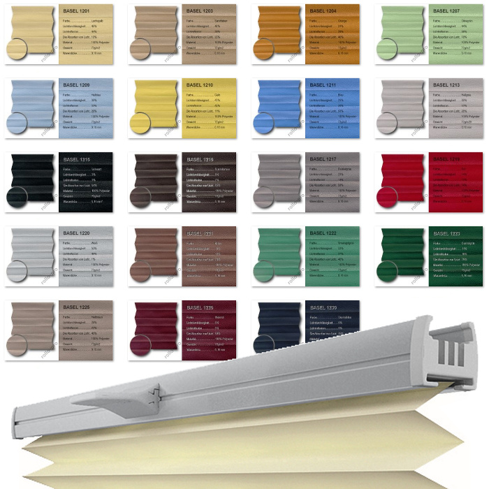 plissee nach ma ohne bohren faltrollo klemmfix leiste silber stoff basel. Black Bedroom Furniture Sets. Home Design Ideas