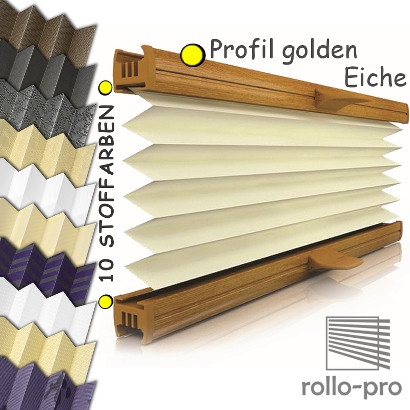 plissee faltrollo ohne bohren nach ma klemmfix designo profil golden eiche ebay. Black Bedroom Furniture Sets. Home Design Ideas