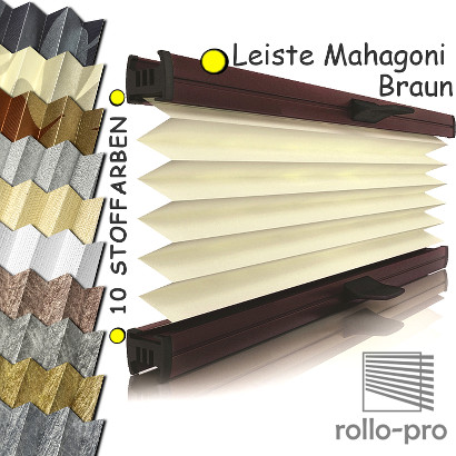 plissee faltrollo nach ma metallico profil mahagoni rollos plissees jalousien ebay. Black Bedroom Furniture Sets. Home Design Ideas